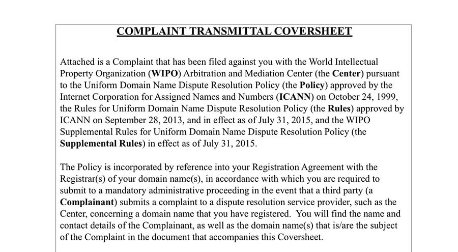 The WIPO model complaint Word document.