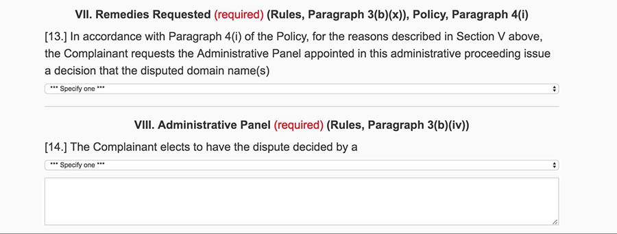 Sections on the requested remedies and number of panelists.