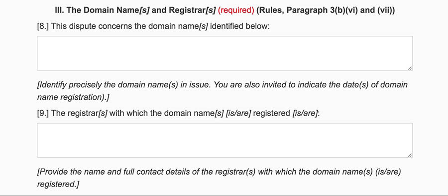 Providing information about the disputed domain names.