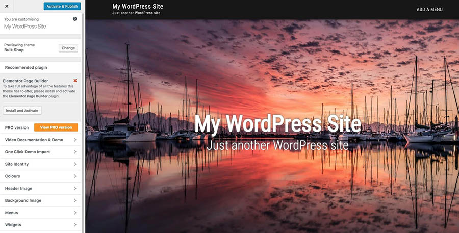Previewing a WordPress theme.