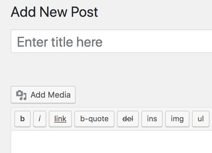 The Add Media button in the WordPress editor.