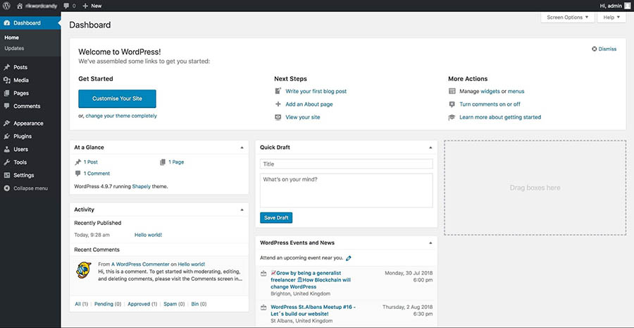 The WordPress admin dashboard.