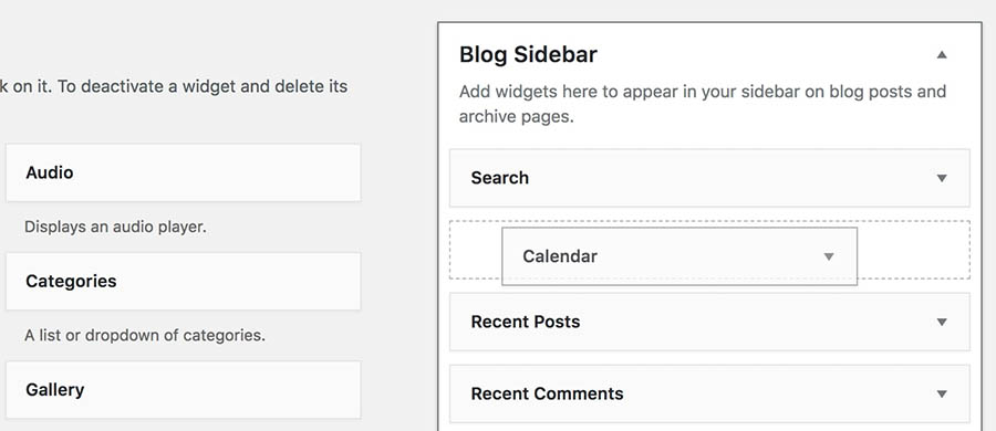 Adding a widget to the blog sidebar.