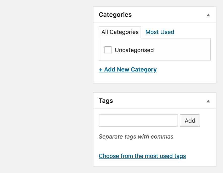 The Tags section in the editor interface.