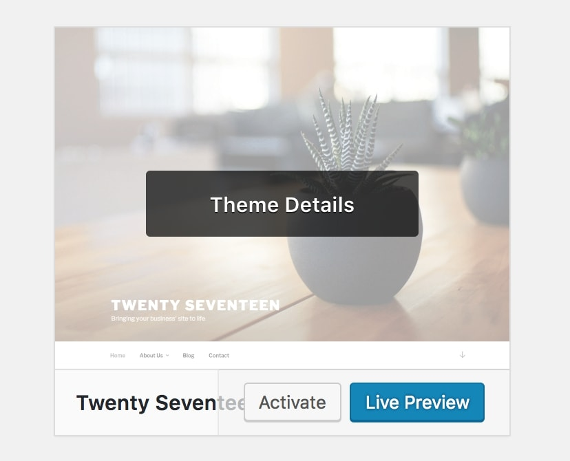 Activating a default WordPress theme.