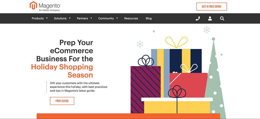 The Magento home page.
