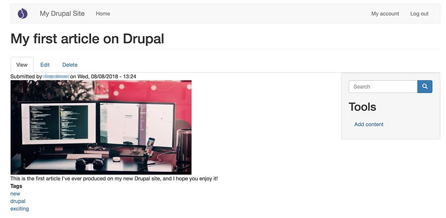 A Drupal site's front page, with a new theme applied.