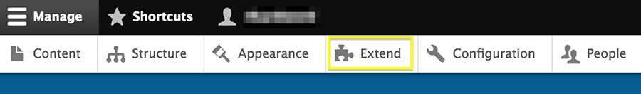 The Extend option in the admin toolbar.
