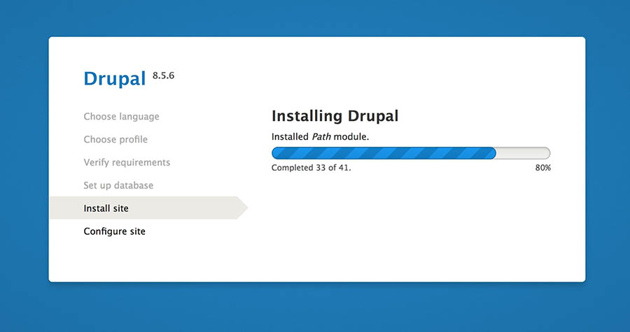 A progress bar for installing Drupal.