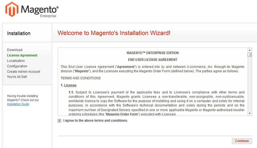 The Magento installation wizard.