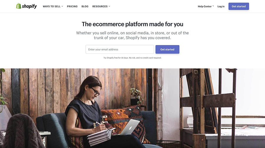 The Shopify homepage.