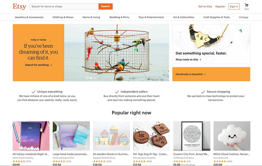 The Etsy homepage.