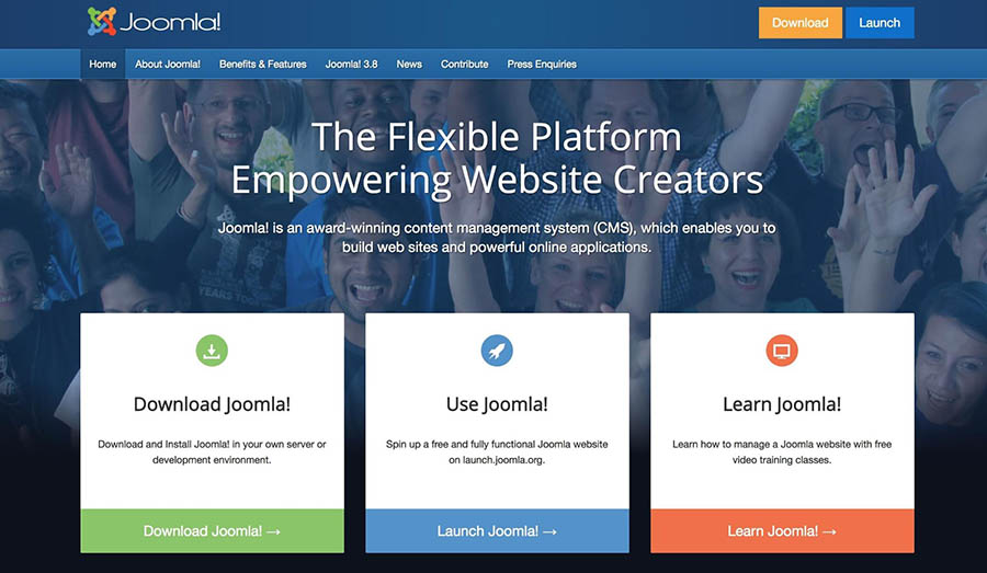 The Joomla! homepage.
