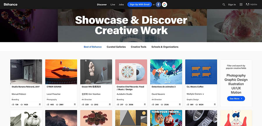 The Behance homepage.