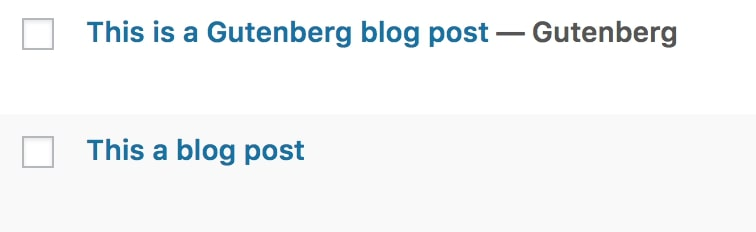 Two blog posts, the first of which was created in Gutenberg.