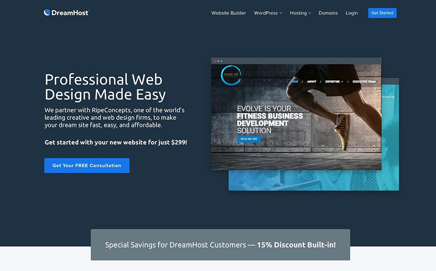 The DreamHost web design landing page.