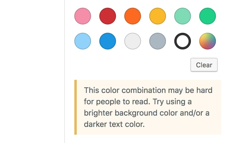 Color combination warning message.
