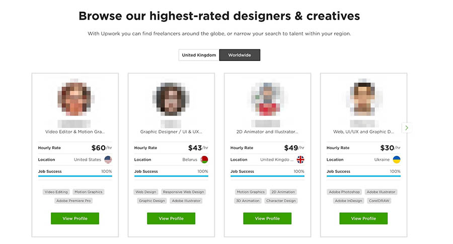 Browsing designers on Upwork.