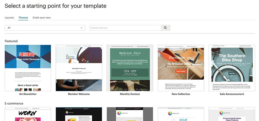 A sample of several Mailchimp themes.