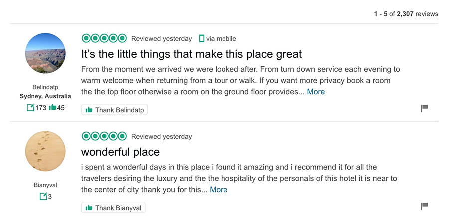 Two user reviews from TripAdvisor.
