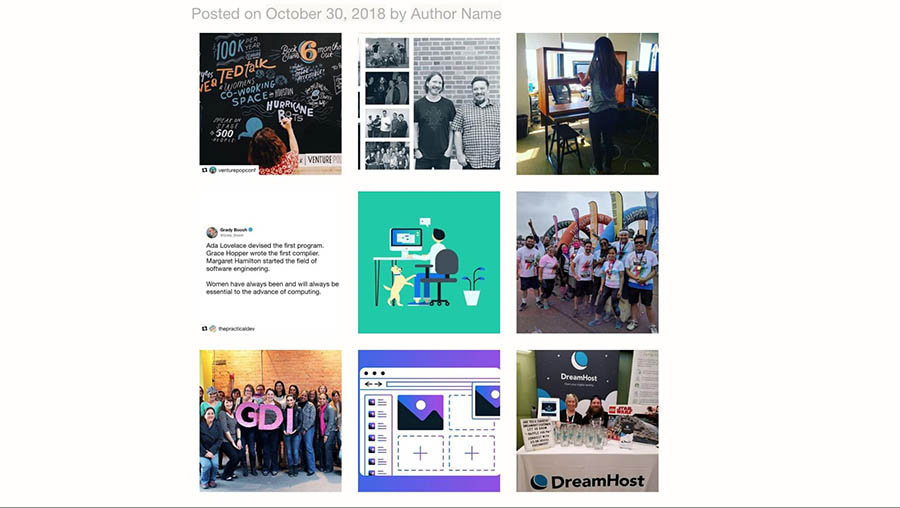 An Instagram gallery on a WordPress page.