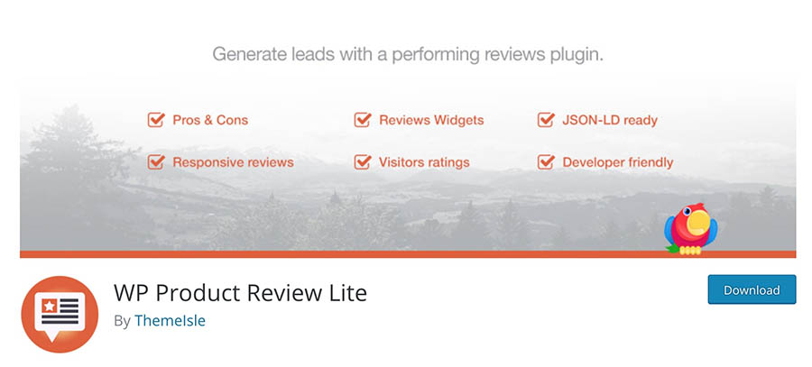 Alt text: The WP Product Review plugin.