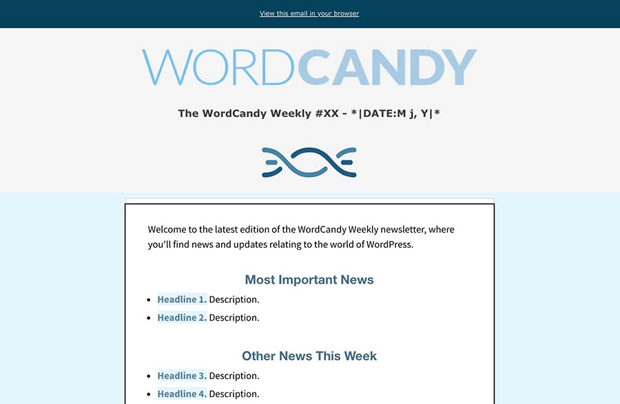 The WordCandy Weekly email template.