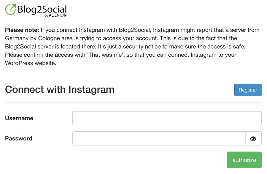 Authorizing your Instagram account on Blog2Social.