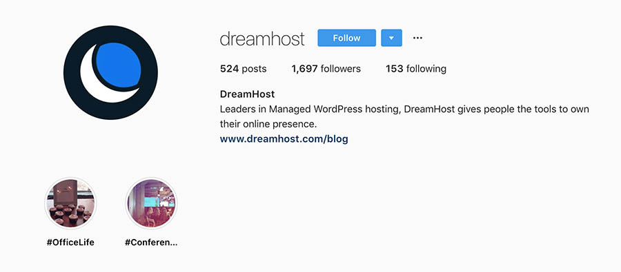 Story highlights on the DreamHost account.