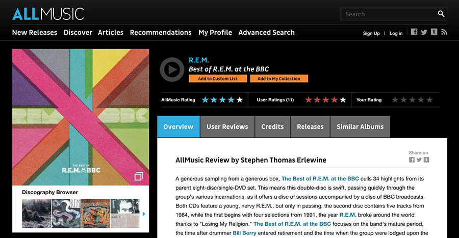 An example of a review on AllMusic.com.