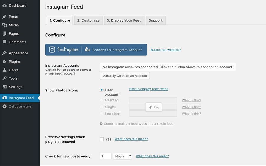 The Instagram Feed settings page.