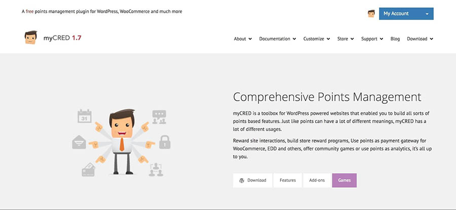 The myCRED home page.
