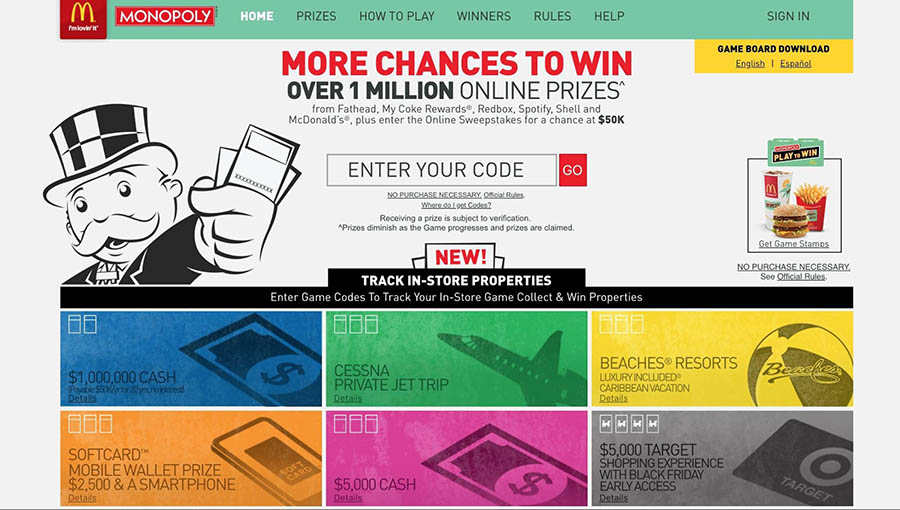 The McDonald's Monopoly game website.