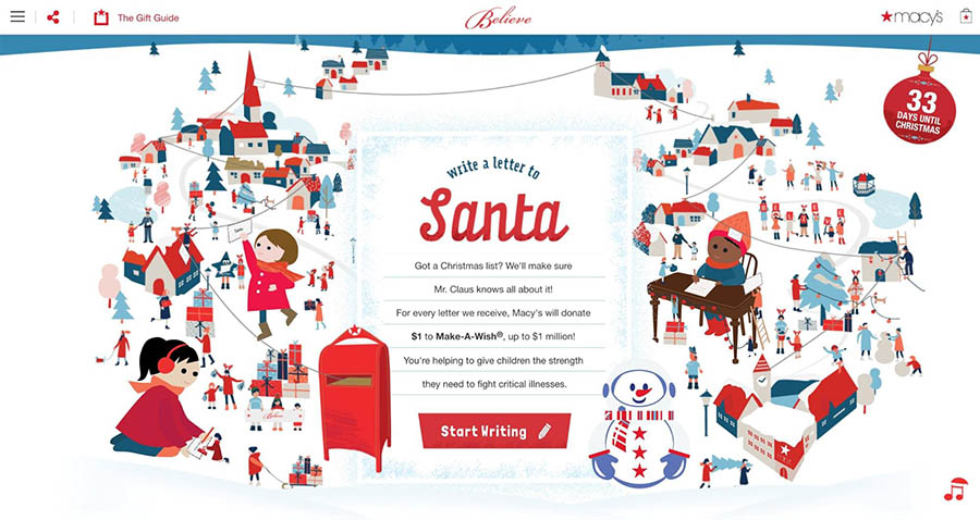 The home page for Macy's Believe campaign.