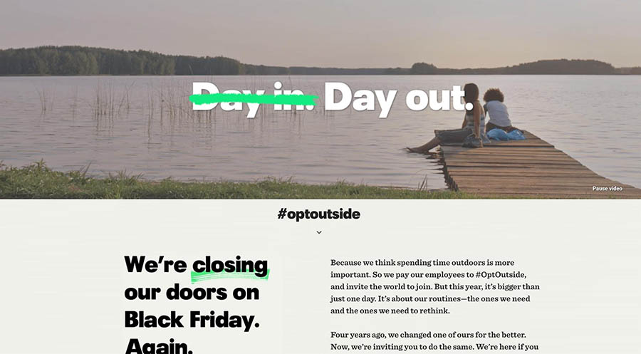 The #OptOuside page by REI.