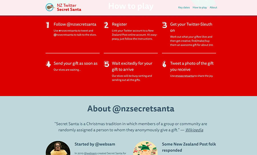 The #NZSecretSanta home page.