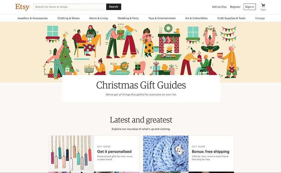 Holiday gift guides on the Etsy home page.