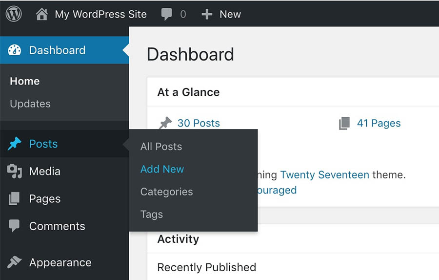 The Add New Posts option in WordPress.