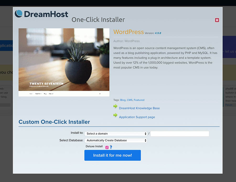 Using the WordPress one-click installer.