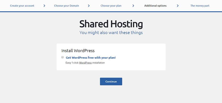 Choosing to have WordPress pre-installed.