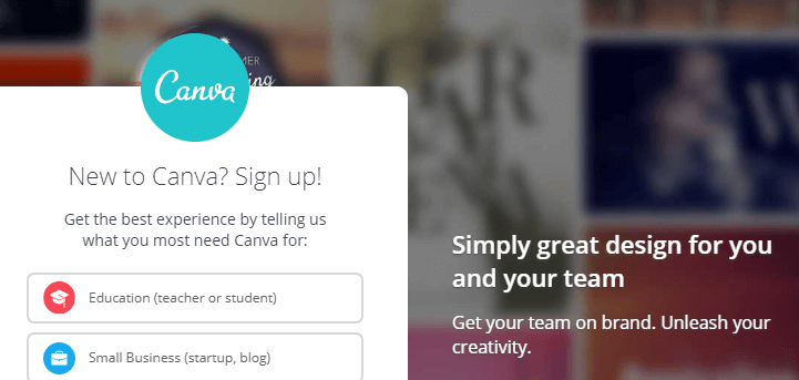 The Canva homepage.