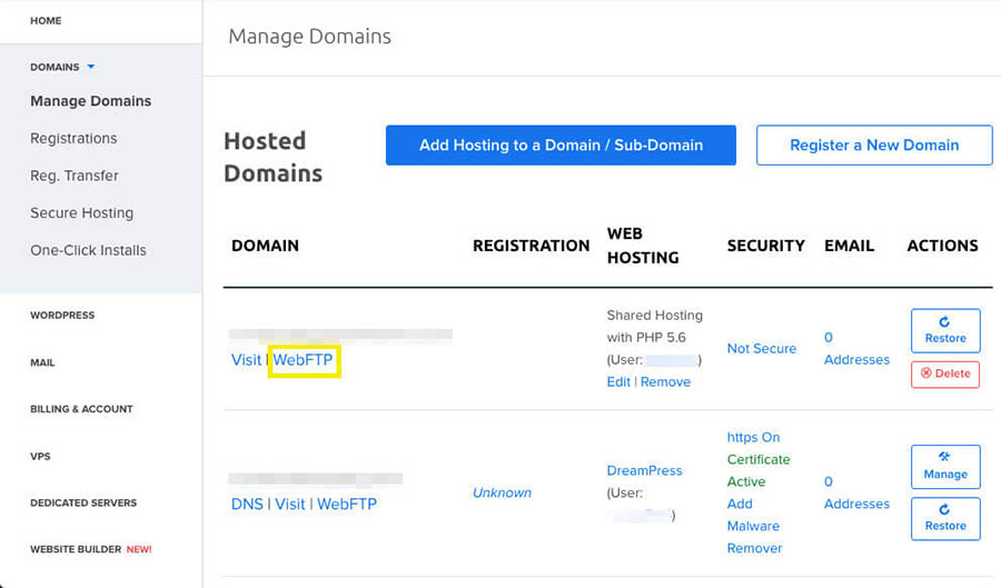 Accessing WebFTP in a DreamHost account.