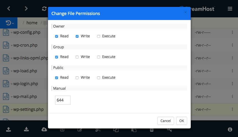 Editing file permissions for WordPress users.