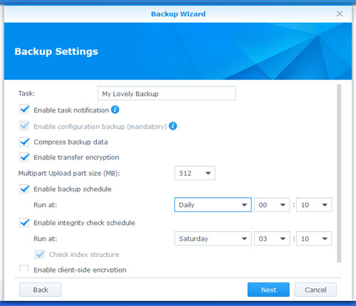 Configure your backup