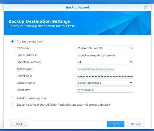 Backup Destination Settings