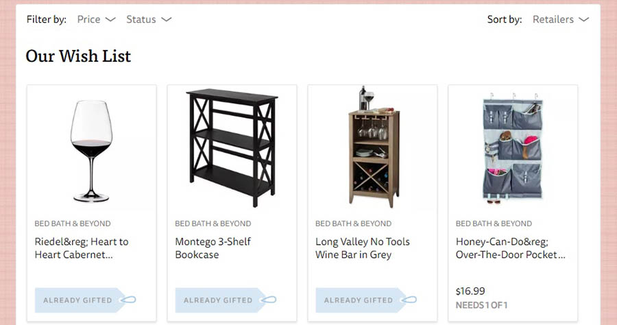 An example of a wedding site's Gift Registry page.