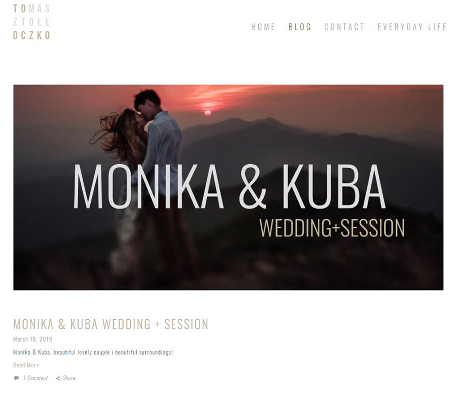 Alt text: An example of a wedding site's blog page.