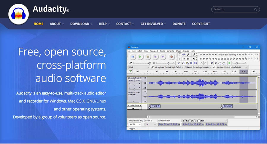 The Home page for Audacity.