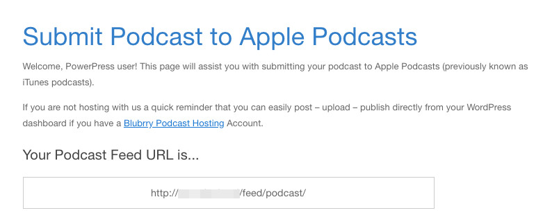 A podcast feed URL displayed via PowerPress and Blubrry.
