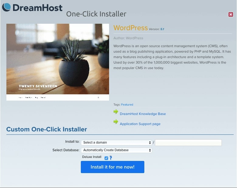 DreamHost's WordPress one-click installer.